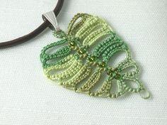 Tatted Birch Leaf Pendant by Jennifer Kohr, the SnappyTatter