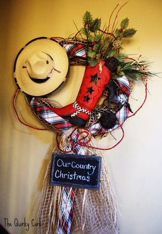 Our Country Christmas Wreath by TheQuirkyCork on Etsy, $125.00