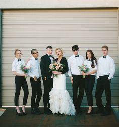 bridesmaids in trousers!, black and white wedding, the modern bride #pants, #bridalparty