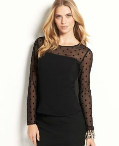 Sheer Dot Peplum Top #ATHauteHoliday