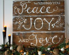 Homemade DIY Christmas Signs & Decor Ideas - Peace Joy and Love - Click Pic for 18 DIY Christmas Crafts for Family