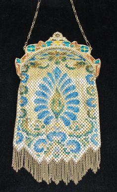 Mandalian Stained Glass Enamel Mesh Peacock Purse Lustro Pearl Finish, 1920s art deco