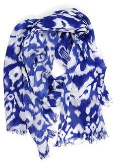 cobalt ikat scarf