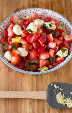 Heirloom Berry Quinoa Salad quinoa recipe, marin mozzarella, fruit salads, food, vegetarian salads, healthi, heirloom tomatoes, berri quinoa, vegetarian recipes