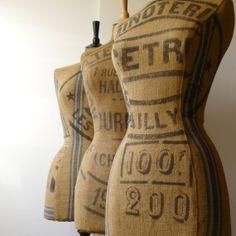 Antique French Grain Sack Mannequin OOAK Dressform Display Bust #9