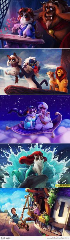 Grumpy Cat meets Disney...too funny