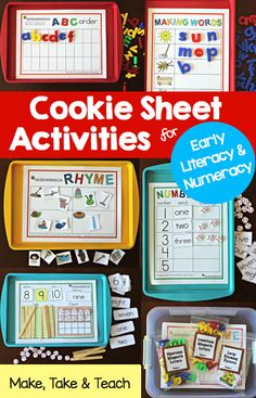 Cookie sheet activities for early literacy and numeracy- ABC order, rhyme, building CVC words and more!