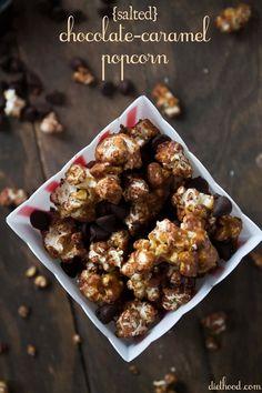 Salted Chocolate Caramel Popcorn | www.diethood.com | #popcorn #recipe #caramel #chocolate