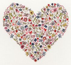 Cross stitch flowers on my Heart