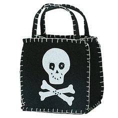 #PirateParty Loot Favor Bags feature a white skull and crossbones on a black background that is stitched in white on felt.