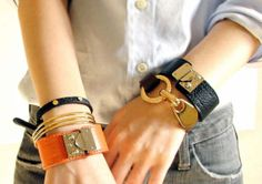 Leather Bracelets, gold cuffs,leather band...