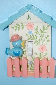 Just about the cutest light switch plate ever! #bluebird #light #switch #plate #decor #vintage #cute #birds #blue #pink #kitschy #kitsch
