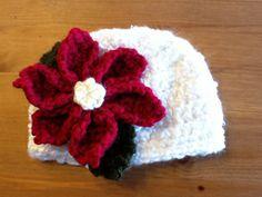 crochet hat patterns, poinsettia pattern, crochet baby hats, poinsettia flower, crochet hats, christmas baby, white christmas, crochet patterns, flower patterns