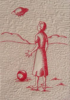 """""""Invasion 2"""". Redwork free-motion embroidery. Victoria Gertenbach."""