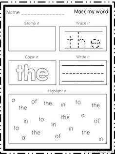 MARK MY WORD: WORD WORK - 30 print and go worksheets $