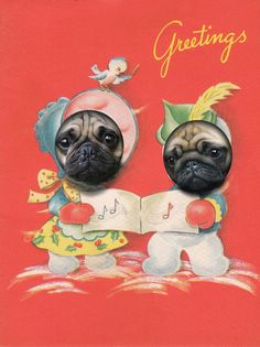 Pug dog Christmas greetings, via Etsy.