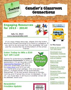 July 13th issue of Candler's Classroom Connections - Free teaching resources from Laura Candler twice a month! To subscribe to this newsletter, go to www.lauracandler.com/signup.php