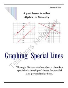Graphing Special Lines from jamesrahn on TeachersNotebook.com -  (5 pages)  - Through discover students learn there is a special relationship of slopes for parallel and perpendicular lines.