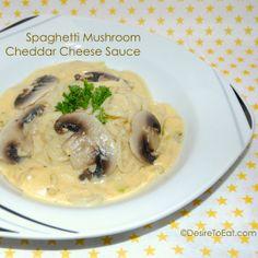 Spaghetti mushroom with cheddar cheese sauce