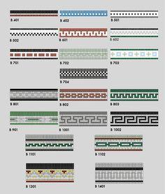 """Historic Tile Border Patterns  3/4"""" x 3/4"""" Squares"""