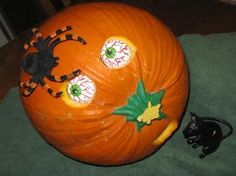 scared spider pumpkin! #TYP entry in #plaidcrafts 4th Annual Trick Your Pumpkin Halloween craft contest! www.TrickYourPumpkin.com