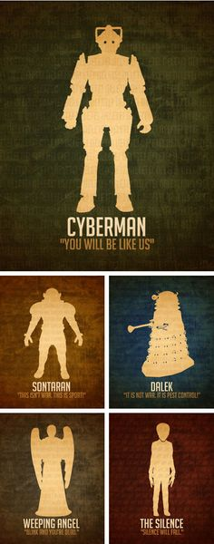 Doctor Who Art Prints 3.5x5 Science Fiction Alien Villain Art Poster Steampunk Sci Fi Illustration Dalek Cybermen Weeping Angel Geek Decor. $14.00, via Etsy.