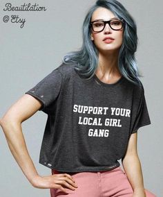 Girl Gang- flowy cropped tee- hand distressed (or not) on Etsy, $27.00