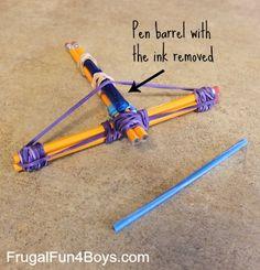 How to Make a Pencil Crossbow @ frugalfun4boys.com