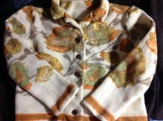 Vintage Girl wool felt fall jacket floral  print, rare found treasure, upcycled kids clothing by mcleodhandcraftgifts,