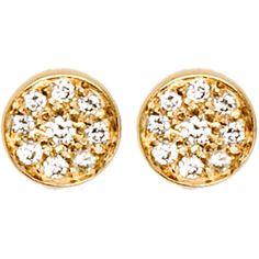 Jennifer Meyer Diamond Circle Stud Earrings found on Polyvore