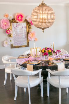 Beautiful engagement dinner tablescape and chandelier