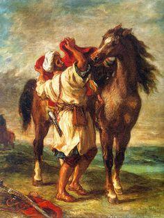 Eugène Delacroix  Arabe sellant son cheval  1855  Huile sur toile  47 x 57 cm   Musée de l'Hermitage, St-Petersburg