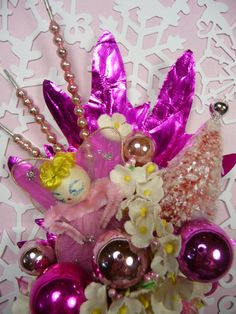 Christmas Corsage Vintage Spun Cotton Pink Angel Sparkle by meaicp, $45.00