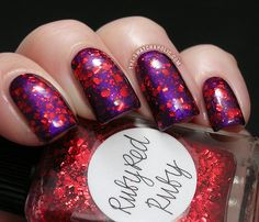 Layering A England Avalon Lynnderella Ruby Red Ruby swatch swatches aengland glitter purple red nail polish, ruby slippers, red hats, red nails, glitter nails, nail arts, rubi red, beauty blogs, red rubi