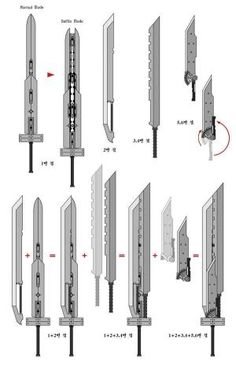 Diagram for the fusion swords from Final Fantasy VII: Advent Children.