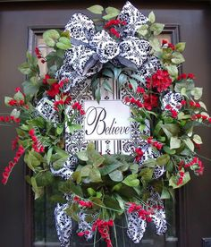Inspirational Wreath Summer Wreath Spring Wreath Door Front Door Wreath Damask Ribbon Black White Red. $155.00, via Etsy.