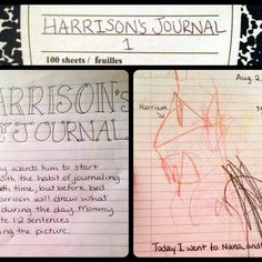 I've always wanted to journal, but never could get in the habit. I would like to bring my boys up to journal. So every night (or every night we CAN), we talk with Harrison about what he did that day and encourage him to draw about something he did. I write a sentence or two about what he drew. It takes just 5 minutes a night before bed. Also, discussing the events of the day helps him learn to grasp the abstract concept of time.