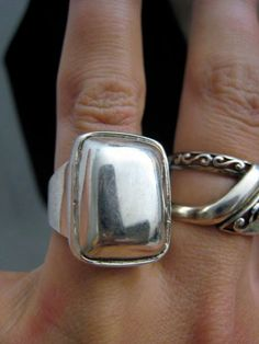 Bold Vintage Modern Abstract Sterlng Silver Ring by Glamaroni