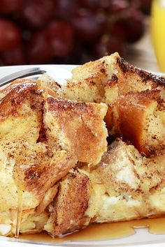 Overnight Baked French Toast Casserole Recipe with Praline Topping & Raspberry Syrup