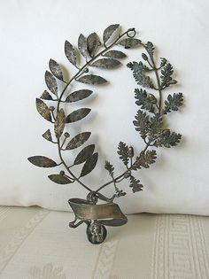 antique French silver laurel leaf award