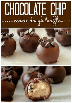 Chocolate Chip Cookie Dough Truffles - easy no bake cookie dough truffles topped with mini chocolate chips
