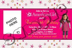 birthday invitations, american girl birthday, aj birthday