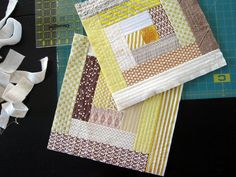 Quilt As You Go Log Cabin Block - @Rachel Hauser is applying the quilt as you go technique to make log cabin quilt block patterns with ease. If you want to make some quilt block patterns for your next log cabin quilt pattern fast, try this.