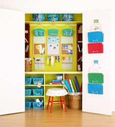 Convert a closet into a crafts room. Simply shut the doors when not in use and your craft room is concealed. Get more storage tips here: http://www.bhg.com/blogs/better-homes-and-gardens-style-blog/month-of-storage/?socsrc=bhgpin012813MOScraftcloset