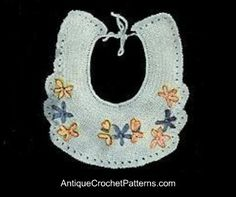 Crochet Baby Bib Pattern - free pattern for crocheting this vintage embroidered baby bib.