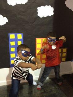 Super Hero Party ideas make a backdrop for pix