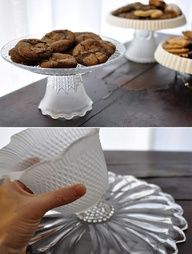 cake plates from light covers and plastic dishes - have seen many versions of the constructed cake plate using different things but this is the first Ive seen with the light covers - I like the idea of using plastic plates making these cheap enough to put out several at a party, mix up the plate colors to match your party decor