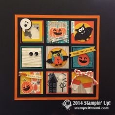 Halloween WOW! This is called a Sampler, it's a 12″ x 12″ frameable page, the squares are each 2″ x 2″ and super fun. Created by LeeAnn Greff and Susie Wood. My favorite square is the bottom left Candy Corn created with the Stampin Up Petite Pennants Builder punch.