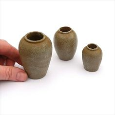 Exploring possibilities: Adobe Miniature Patio Jars, Set of 3  | #miniaturegarden