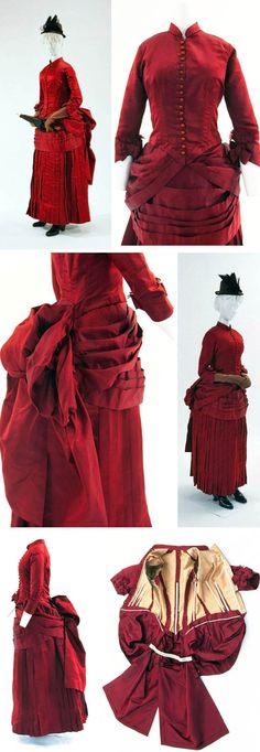 Walking dress, French, circa 1885, via Bunka Costume Museum.